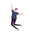 hipster man with purple hair happily jump in dance vector image vector image