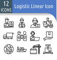 logistic line icon vector image
