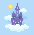 magic fantasy fairytale castle flying in clouds vector image vector image