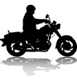 man riding classic vintage motorcycle silhouette vector image
