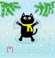 merry christmas black cat laying on back making vector image