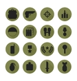 Military silhouette pictogram and war icons set vector image