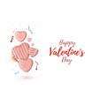 minimalism happy valentines day background pink vector image vector image