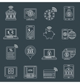Mobile banking icons outline vector image vector image