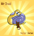 mr snail with mouse vector image vector image