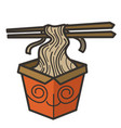 noodles in box with chopsticks chinese fast food vector image