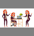 office worker woman successful officer vector image
