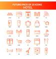 orange futuro 25 hotel icon set vector image