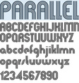 PARALLEL stripes retro style font alphabet vector image