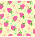 pattern with strawberries and butterfly vector image vector image