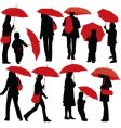 people with umbrellas vector image