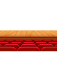 realistic theater wooden stage or floor with rows vector image