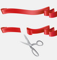 scissors cutting blue ribbon realistic vector image