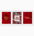 set luxury happy valentines day card with red vector image