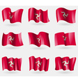 Set of Isle of man flags in the air vector image vector image