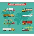 set on worldwide shipping heavy transport vector image