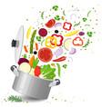 sliced vegetables in saucepan vector image