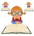small girl reading a book vector image