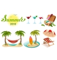 Summer 2016 lettering text Set of objects symbol vector image vector image