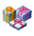 three beautiful gift boxes vector image vector image