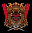 traditional samurai mask logo vector image vector image