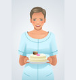 woman holding a plate of cake vector image