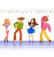 young girls dancing at a disco vector image