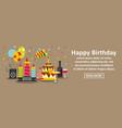 happy birthday banner horizontal concept vector image