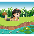 A girl beside a pond vector image vector image