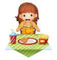 A hungry little girl eating vector image