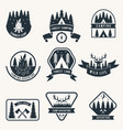 adventure monochrome badges set silhouette vector image