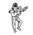 astronaut in spacesuit play guitar sketch vector image