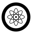 atom icon black color in circle or round vector image