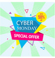 banner cyber monday special offer up to 50 off ve vector image