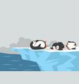 cartoon penguins sleeping on iceberg background vector image vector image