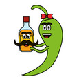 chilli pepper with tequila bottle comic character vector image vector image