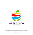 colorful apple logo design concept fruit apple vector image vector image