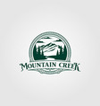creek and mountain vintage logo design vintage vector image vector image