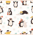 cute cartoon penguin seamless pattern funny vector image vector image