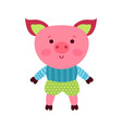cute cartoon pig animal toy colorful vector image vector image