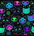 cute cartoon witchcraft cat bright seamless vector image