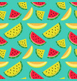 fruity pattern on a blue background vector image vector image