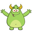 funny horned green monster cartoon character vector image vector image