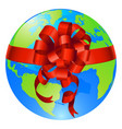 globe world gift bow concept vector image