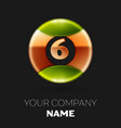 golden number six logo symbol in the circle vector image vector image