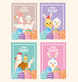 happy easter card with animals and eggs painted vector image vector image