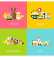 Happy Easter Greetings Flat Concepts Set vector image