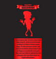 happy halloween poster with silhouette of zombie vector image vector image