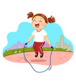 happy little girl jumping rope in vector image vector image