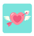 heart with arrow flat icon vector image vector image